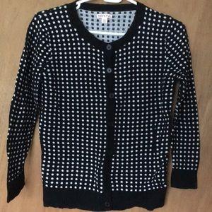 Black and white polka dot cardigan, merona size sm